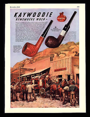 Antique 1948 Kaywoodie Pipes Wells Fargo & Co  Stagecoach Cowboys Art Print  Ad