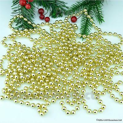 24F Gold Hanging Bead Garland Christmas Tree Xmas Tinsel String Chain Decoration
