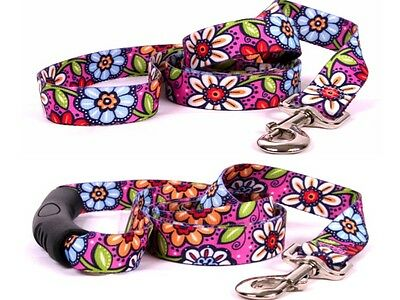 Dog Lead Leash - Yellow Dog Design - Pink Garden - Made In USA - Choose Size