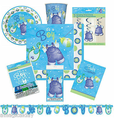 Blue Clothesline Boy Baby Shower Decorations | Tableware