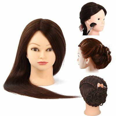 Real Human Hair Practice Salon Head Training Mannequin + Free Clamp Hairdressing