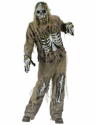 Adult Mens Skeleton Zombie Horror Halloween Outfit Fancy Dress Costume