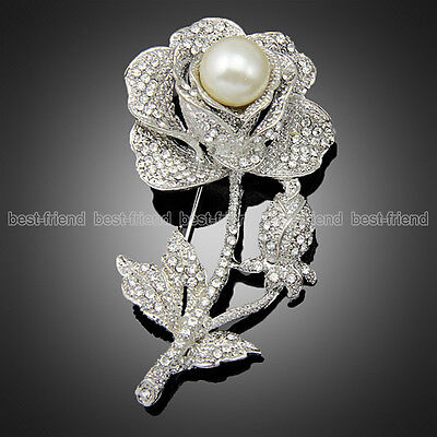 "New Silver Large 3.0"" Rose Flower Brooch Pearl Diamante Broach Party Charm Gift"