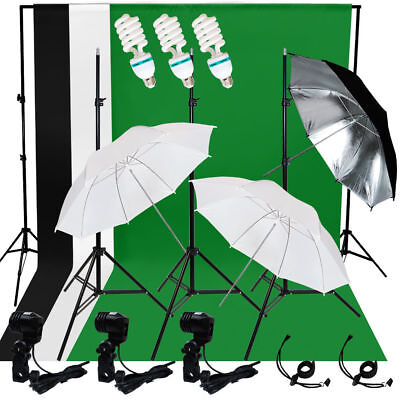 Photo Pro Studio Lighting Photography 3 Muslin Backdrop Light Stand Kit