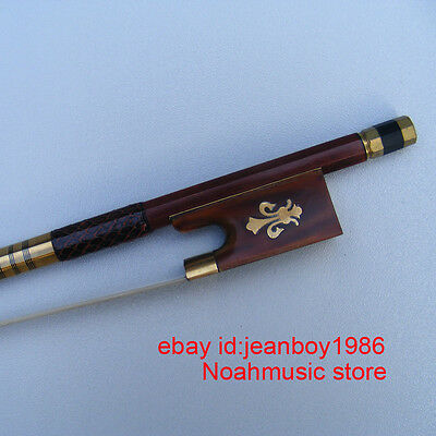 Top Grade Pernambuco 4/4 Violin Bow Gold mounted Red Snakeskin Fleur-de-lys Bows
