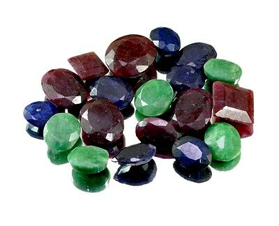 200ct / 19pcs Natural Emerald Ruby Sapphire Ring Size Gemstone Wholesale Lot