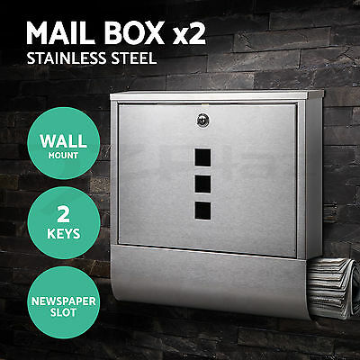 2 x Mailbox Mail Box Wall Mount Stainless Steel Post Newspaper Letterbox Letter