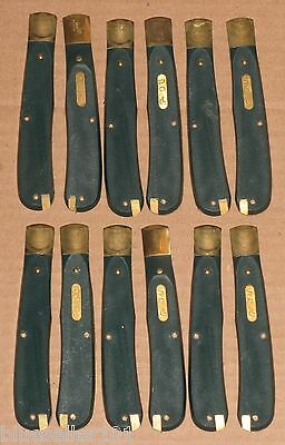 12 Schrade USA pocket knife handles PARTS ONLY lot green Ducks Unlimited