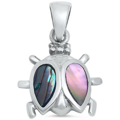 Abalone Shell Lady Bug .925 Sterling Silver Pendant