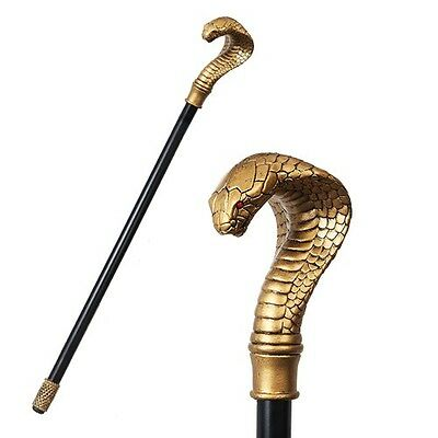 Ancient Egyptian Theme Golden Cobra Snake Walking Cane Prop Party Accessory