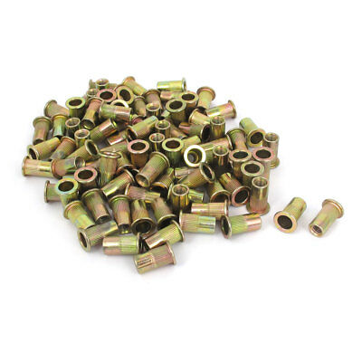 300 Pcs M6x18mm Flat Head Round Knurled Body Rivet Nut Insert Nutserts