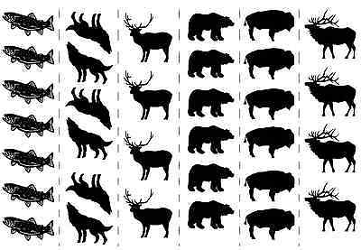 "Black Wolf Bison Bear Elk Deer Fish 5""X7"" Card Fused Glass Decals 15CC498"