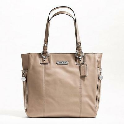 Authentic Coach GALLERY LEATHER NS ZIPPER TOTE-F19456 Putty or Black NWT $378
