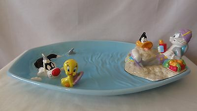 Warner Brothers 2000 Sylvester and Tweety Bird At The Beach Serving Tray #H285