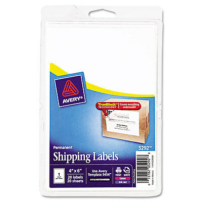 Avery Shipping Labels W/ultrahold Ad, Trueblock 4 X 6 White, Pack of 20