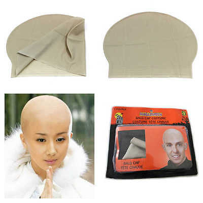 Funny Fake Bald Head Skinhead Baldy Clown Mens / Ladies Fancy Dress Wig Cap