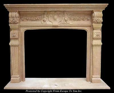 Beautiful Hand Carved Marble Estate Fireplace Mantel - Jd55