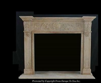 Beautiful Hand Carved Marble Estate Fireplace Mantel - Jd56
