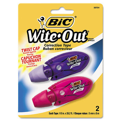 """BIC Wite-Out Mini Twist Correction Tape, Non-Refillable, 1/5"""" X 314"""", 2/pack"""