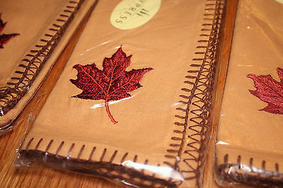 Set 6 Embroidered Maple Leaf Fall Napkins Gold 100% Cotton Fabric NEW Cypress