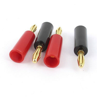 4 PCS Red Black Speaker Male Banana Connector Adapter