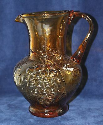 "PITCHER Hand-Blown Molded Amber Glass 8"" tall, vintage, BEAUTIFUL!!"