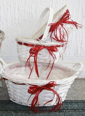White Wicker Red Ribbon Baskets Christmas Gift Hampers choose size