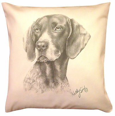 German Shorthaired Pointer MS Cotton Cushion Cover - Cream or White - Gift Item