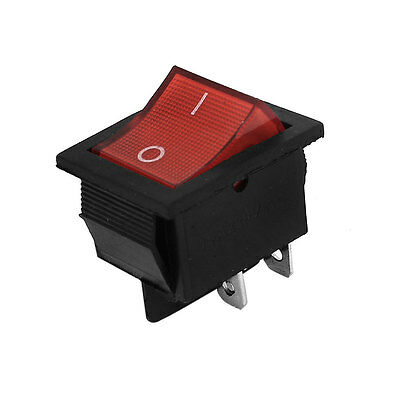 AC 220V 15A 4 Pin DPST On/Off 2 Position Red Light Snap in Boat Rocker Switch