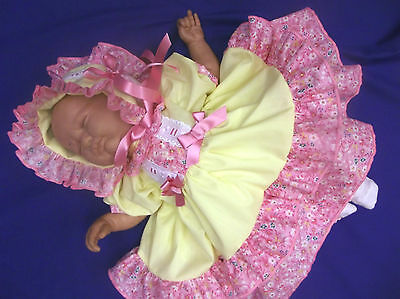 DREAM BABY GIRL LEMON PINK FLORAL spanish FRILLY DRESS BONNET 0  TO 2 YEARS