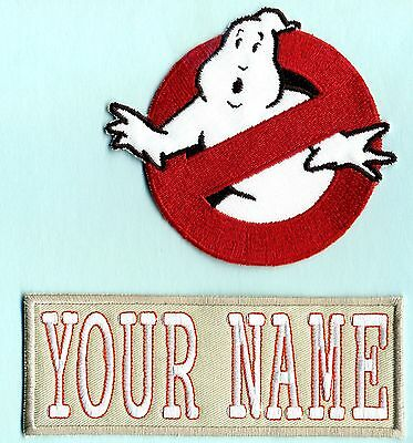 ADULT size LADY Ghostbusters No Ghost 1 & Custom Name Tag Patch Set [Hooks Back]
