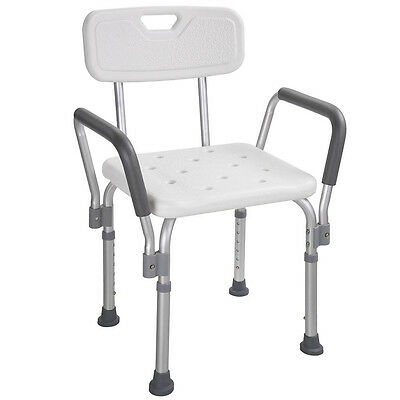 Medical Shower Chair Bathtub Bench Bath Seat with Adjustable Legs & Back Support