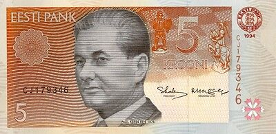 ESTONIA 1994 5 KROONI  BANK NOTE in a Protective Sleeve