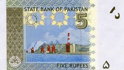 PAKISTAN 2010 5 RUPEES BANK NOTE in a Protective Sleeve