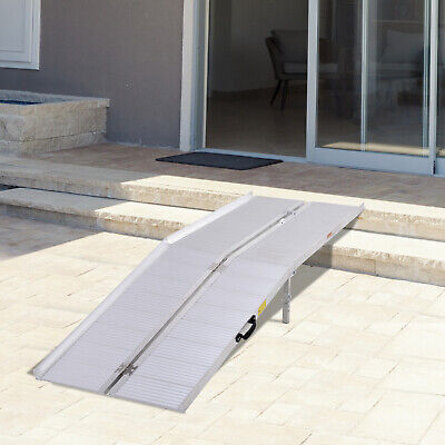 10' Folding Aluminum Wheelchair Ramp Loading Ramp Scooter Mobility Handicap Ramp