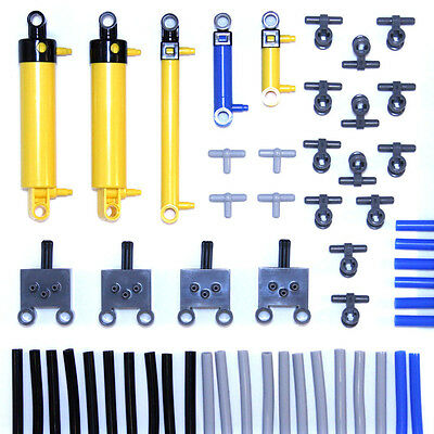 Lego Technic Pneumatic Piston Cylinder Pump Switch Valve Tube Hose 54 Parts NEW