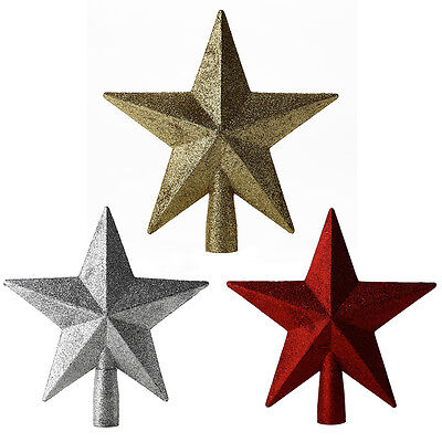 Gold/Red/Silver Glitter Star Christmas Tree Topper Xmas Decorations&Gifts 20CM
