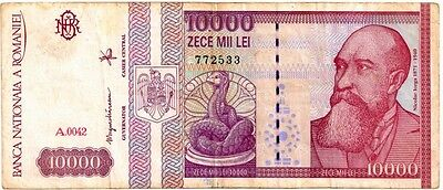 ROMANIA 1994 10000 LEI  BANK NOTE in a  Protective Sleeve
