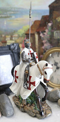 Crusader English Phalanx Spear Knight General On Cavalry Horse Figurine Statue