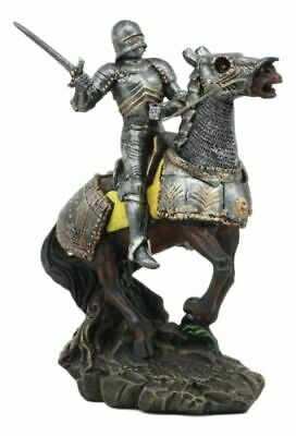 Medieval Swordsman Knight With Suit Of Armor Charging On Calvary Horse Statue