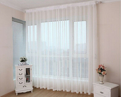 1pc Sheer White Voile Scarf Curtain Panel Sets Curtains Extra Wide Long