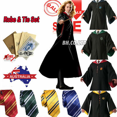 Costume Gryffindor/Hufflepuff/Ravenclaw/Slytherin Robe Cloak Tie Wand Badge