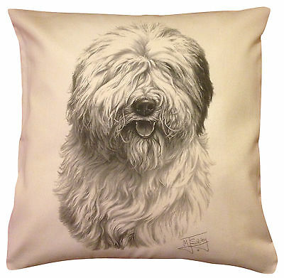 Old English Sheepdog MS Cotton Cushion Cover Choice of Cream or White