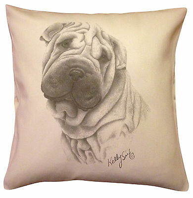 Shar Pei MS Cotton Cushion Cover - Choice of Cream or White - Perfect Gift