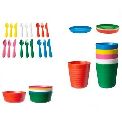 Ikea Kalas * Children's Plastic 36 Piece Cutlery Set * Kids Bowls Plates Cups
