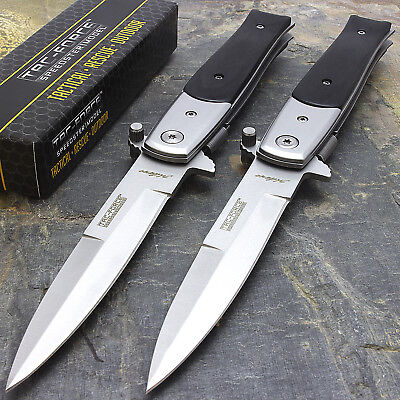 2 Pack Tac Force Spring Open Assisted Tactical Stiletto Folding Pocket Knife Edc