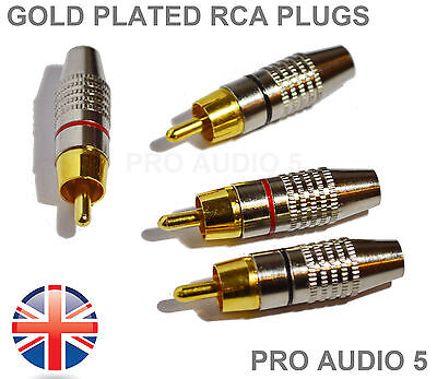 8x Gold Plated RCA Phono Plugs - 4 Pair - For Amps Hi-Fi - Audiophile - UK Post