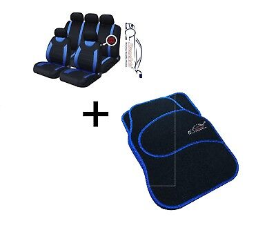 9 PCE Sports Carnaby Blue/ Black CAR Seat Covers + Matching Mat Set For Vauxhall