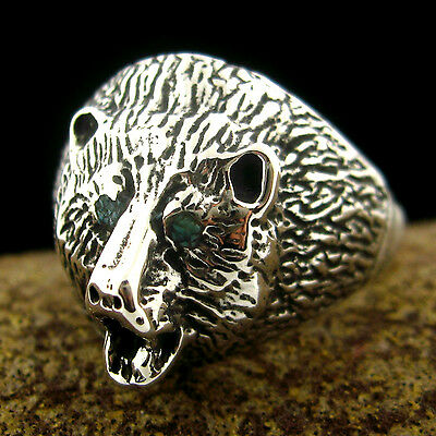 Sterling Silver Men's Bear Head Ring - Select Size --- R30