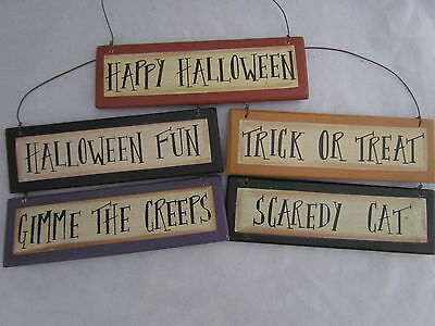 Primitive Halloween Themed Signs / Ornaments fun creeps trick treat cat RO-113